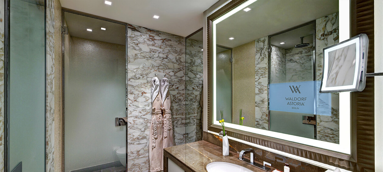 "18.5"" Lighted Mirror TV for hospitality application, installed in a bathroom @ Waldorf Astoria in Germany."